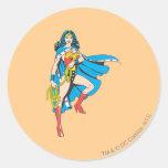 Cabo de la Mujer Maravilla Pegatina Redonda