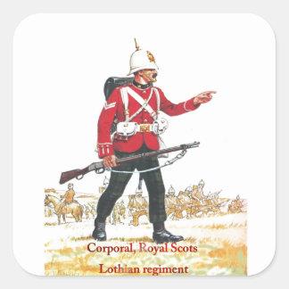 Cabo, escocés real, regimiento de Lothian Pegatinas Cuadradas