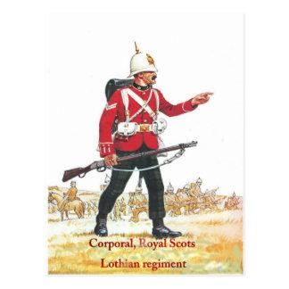 Cabo, escocés real, regimiento de Lothian Tarjetas Postales