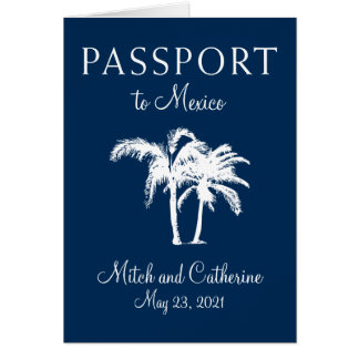 Cabo Mexico Navy Blue Palm Tree Passport Wedding Card