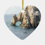 Cabo San Lucas Adorno Navideño De Cerámica En Forma De Corazón