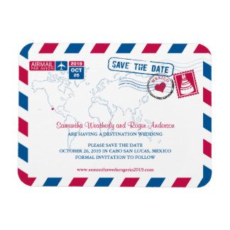 Cabo San Lucas Mexico Airmail | Save the Date 3x4 Magnet