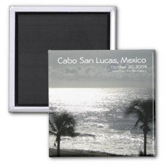 Cabo San Lucas, Mexico coastal view (black/white) 2 Inch Square Magnet