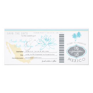 Cabo Save the Date Boarding Pass to Mexico 4x9.25 Paper Invitation Card