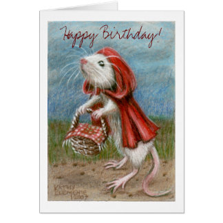 ¡Cabo y cesta, feliz cumpleaños de la rata! Tarjet Tarjeta Pequeña