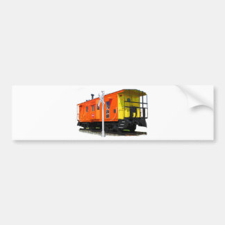 Caboose And Railroad Crossing Sign Bumper Sticker