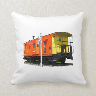 Caboose And Railroad Crossing Sign Throw Pillows