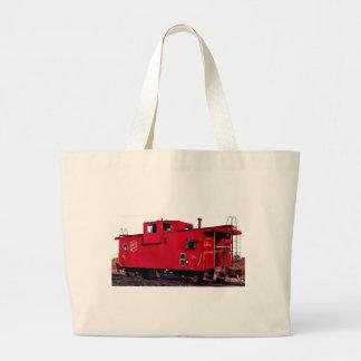 Caboose rojo del ferrocarril bolsa de tela grande