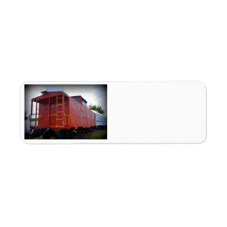 Caboose rojo etiqueta de remite