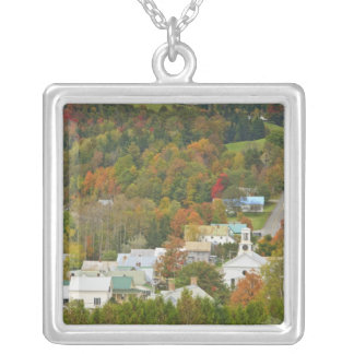 Cabot, Vermont in fall. Northeast Kingdom. Square Pendant Necklace