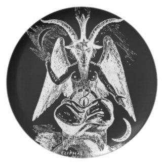 Cabra blanco y negro de la placa de Mendes Platos