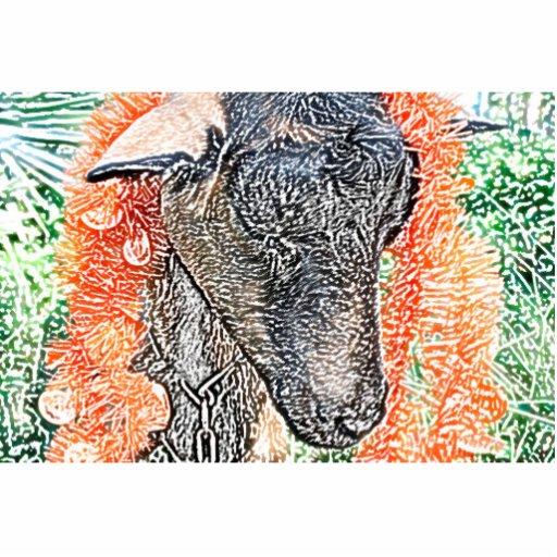 cabra con bosquejo del extracto de la guirnalda fotoescultura vertical