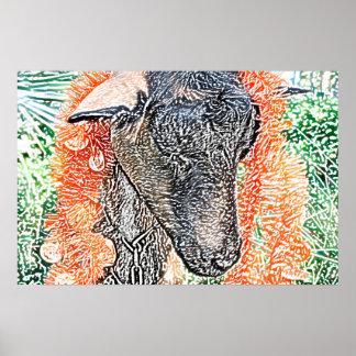 cabra con bosquejo del extracto de la guirnalda póster