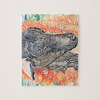 cabra con bosquejo del extracto de la guirnalda puzzles