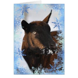 Cabra con una tarjeta nevosa de Navidad de la nari