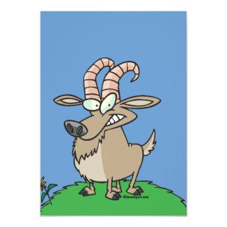cabra de billy del dibujo animado invitación 12,7 x 17,8 cm