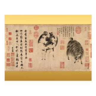 Cabra de las ovejas que pinta la postal china del
