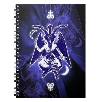 Cabra de Mendes Baphomet y cruces satánicas Libro De Apuntes Con Espiral