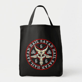 Cabra de Satan Baphomet del saludo en Pentagram Bolsa Lienzo