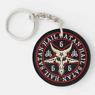 Cabra de Satan Baphomet del saludo en Pentagram Llavero Redondo Acrílico A Doble Cara