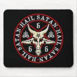 Cabra de Satan Baphomet del saludo en Pentagram Tapetes De Raton
