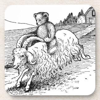 Cabra del angora del montar a caballo del oso de p posavasos de bebida