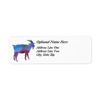 Cabra del arco iris con el texto adaptable etiqueta de remite