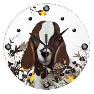 Cabra del Boer que pinta el reloj de pared floral