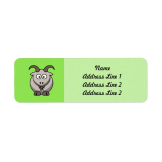 Cabra del dibujo animado en fondo verde claro etiqueta de remitente