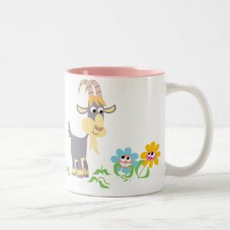 Cabra del dibujo animado y taza lindas de las flor