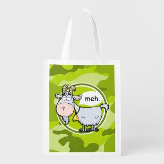 Cabra divertida; camo verde claro, camuflaje bolsas de la compra