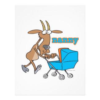 cabra divertida de la niñera que empuja el dibujo  tarjetas publicitarias