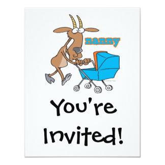 cabra divertida de la niñera que empuja el dibujo invitación 10,8 x 13,9 cm
