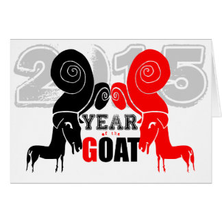 Cabra doble del espolón -2 - Año Nuevo chino 2015 Tarjeta De Felicitación