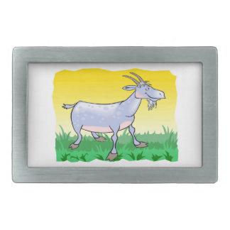 Cabra en hierba hebilla de cinturón rectangular
