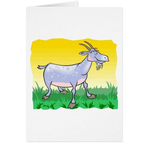 Cabra en hierba tarjeta de felicitación