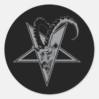 Cabra en un Pentagram Pegatina Redonda