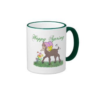 Cabra feliz de la primavera tazas