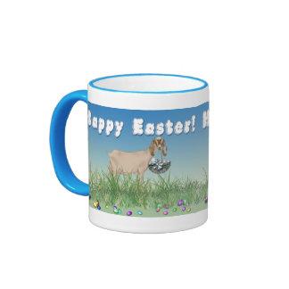 Cabra feliz de Pascua Nubian con la cesta 2 de Taza A Dos Colores