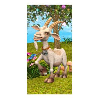 Cabra feliz tarjeta fotografica personalizada