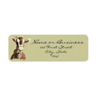 Cabra linda, animal del campo, etiqueta de etiqueta de remite