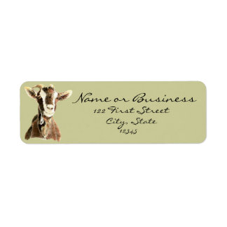 Cabra linda animal del campo etiqueta de direcci