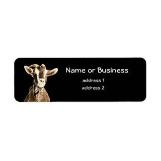 Cabra linda, animal del campo, mascota etiqueta de remite