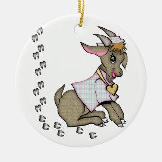 Cabra linda con HoofPrints Adornos De Navidad