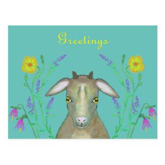Cabra linda con las flores alpinas tarjeta postal