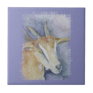 Cabra/niño de la acuarela azulejo cuadrado pequeño