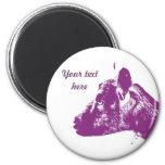 Cabra púrpura imán redondo 5 cm