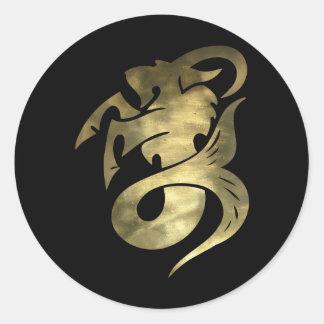 Cabra rústica del Capricornio del oro Pegatina Redonda