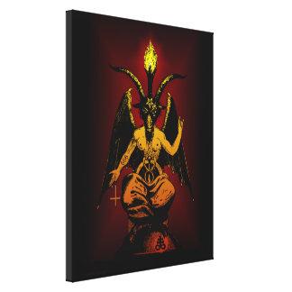 Cabra satánica en lona estirada lienzo envuelto para galerias