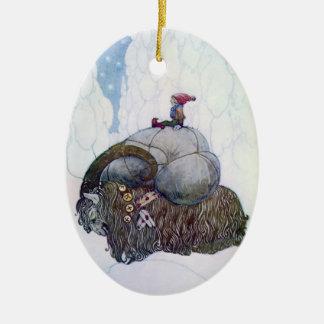 Cabra sueca del navidad: Julebukking - ornamento Adorno Ovalado De Cerámica